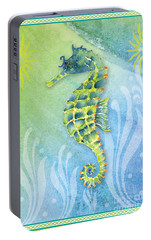 Seahorse Blue Green Portable Battery Charger by Amy Kirkpatrick