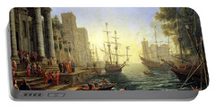 Seaport With The Embarkation Of Saint Ursula  Portable Battery Charger