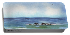Seascape With Three Rocks Portable Battery Charger