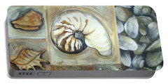 Portable Battery Charger featuring the painting Seashells by Chris Hobel