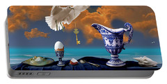 Portable Battery Charger featuring the digital art Seaside Breakfast by Alexa Szlavics