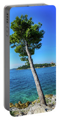 Seaside Leaning Tree In Rovinj, Croatia Portable Battery Charger