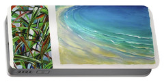 Portable Battery Charger featuring the painting Seaside Memories by Chris Hobel