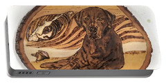 Portable Battery Charger featuring the pyrography Seaside Sam by Denise Tomasura