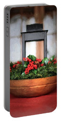 Portable Battery Charger featuring the photograph Seasons Greetings Christmas Centerpiece by Shelley Neff