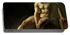 Seated Male Nude Portable Battery Charger