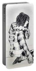 Seated Striped Nude Portable Battery Charger by Ron Bissett