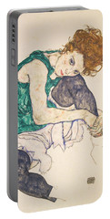 Seated Woman With Legs Drawn Up Portable Battery Charger by Egon Schiele