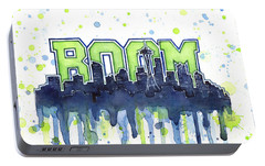 Seattle 12th Man Legion Of Boom Watercolor Portable Battery Charger by Olga Shvartsur