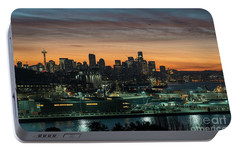 Seattle And Pier 90 Sunrise Portable Battery Charger by Mike Reid