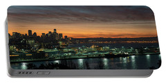 Seattle Early Morning Sunrise Panorama Portable Battery Charger by Mike Reid