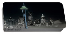 Seattle Foggy Night Lights In Bw Portable Battery Charger