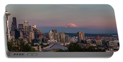 Portable Battery Charger featuring the photograph Seattle Skyline And Mt. Rainier Panoramic Hd by Adam Romanowicz