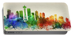 Seattle Skyline Panorama Uswase-pa03 Portable Battery Charger