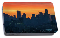 Seattle Skyline Skies On Fire Portable Battery Charger by Mike Reid