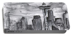 Seattle Skyline Space Needle Portable Battery Charger by Olga Shvartsur