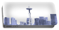 Seattle Skyline Splash And Dash In Blue Portable Battery Charger