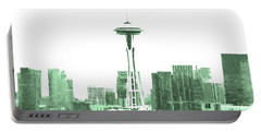 Seattle Skyline Splash And Dash In Green Portable Battery Charger