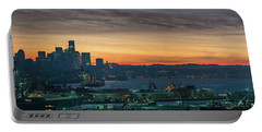 Seattle Skyline Sunrise Pano With A Lenticular Cloud On Rainier Portable Battery Charger