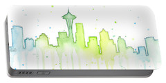 Seattle Skyline Watercolor  Portable Battery Charger