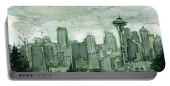 Seattle Skyline Watercolor Space Needle Portable Battery Charger