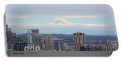 Seattle Skyline With Mt Rainier In Clouds Portable Battery Charger