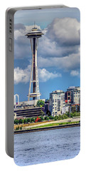Seattle Space Needle Hdr Portable Battery Charger by Rob Green