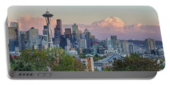 Seattle Washington City Skyline At Sunset Portable Battery Charger