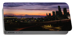 Seattle, Washington Skyline At Sunset Portable Battery Charger