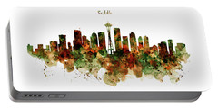 Portable Battery Charger featuring the mixed media Seattle Watercolor Skyline Poster by Marian Voicu