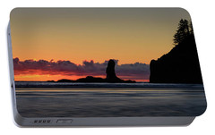 Portable Battery Charger featuring the photograph Second Beach Silhouettes by Dan Mihai