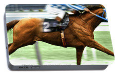 Secretariat Is Widening The Lead Now,  Painting Belmont Stakes  Portable Battery Charger by Thomas Pollart