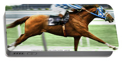 Secretariat Is Widening The Lead Now,  Painting Belmont Stakes  Portable Battery Charger