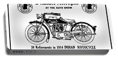 Portable Battery Charger featuring the mixed media See New 1914 Indian Motocycle At The Auto Show by Daniel Hagerman