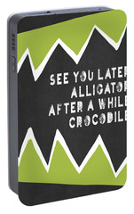 Portable Battery Charger featuring the painting See You Later Alligator by Lisa Weedn