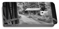 Seen Through The Wilkins Mill Covered Bridge Black And White Portable Battery Charger