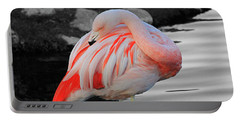 Selective Color Flamingo  Portable Battery Charger by Shoal Hollingsworth