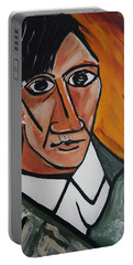 Self Portrait Of Picasso Portable Battery Charger by Nora Shepley