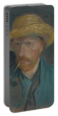 Self-portrait With Straw Hat And Pipe Portable Battery Charger
