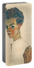 Self-portrait With Striped Shirt Portable Battery Charger