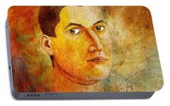 Portable Battery Charger featuring the painting Selfportrait Oil by Alexa Szlavics