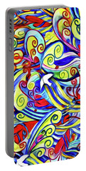 Semi Abstract Paintings Button Portable Battery Charger