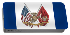 Semper Fidelis Crossed Flags Portable Battery Charger