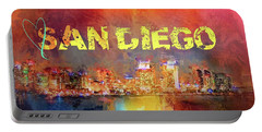 Sending Love To San Diego Portable Battery Charger by Jai Johnson