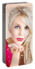 Portable Battery Charger featuring the photograph Sensual Woman Blowing Special Dandelion Kiss by Jorgo Photography - Wall Art Gallery