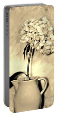 Sepia Antique Creamer With Hydrangea Portable Battery Charger