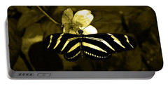 Sepia Butterfly And Flower Portable Battery Charger