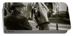 Sepia Carriage Horse With Handler Portable Battery Charger
