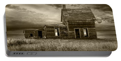 Sepia Tone Of Abandoned Prairie Farm House Portable Battery Charger