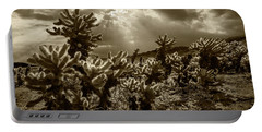 Portable Battery Charger featuring the photograph Sepia Tone Of Cholla Cactus Garden Bathed In Sunlight by Randall Nyhof